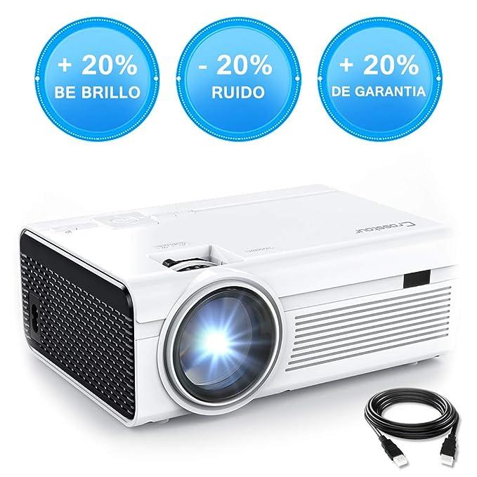 Crosstour Mini Proyector Portátil HD LED 1080P Vídeo Proyector Lampara con 55.000 Horas de Uso, Compatible con HDMI/USB/Tarjeta SD/VGA/AV/TV Box/PS4