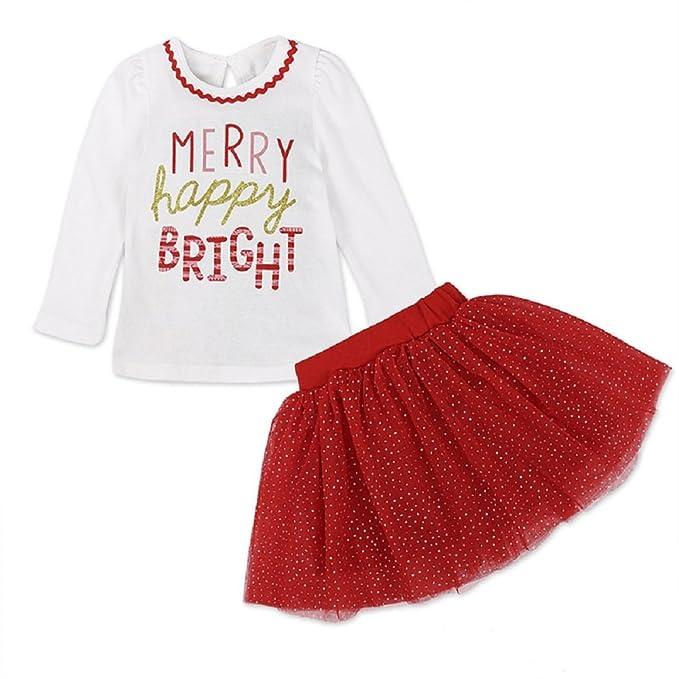 Ropa para Niña Mameluco Bebé Recién Navidad 2pcs Traje de Ropa ...