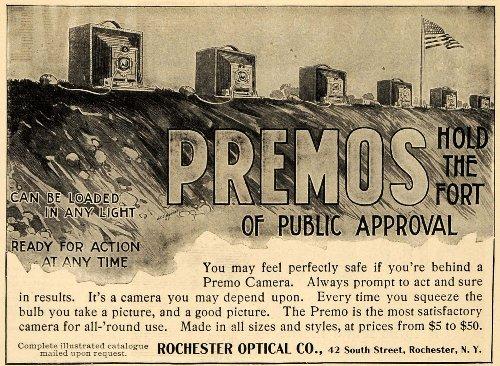 1898 Ad Premos Rochester Optical Camera Photograph Lens - Original Print - Optical Price