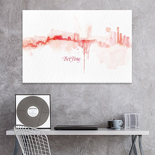 Print Poster Beijing (wall26 Canvas Wall Art - Impressionism Watercolor Style City Landscape of Beijing - Giclee Print Gallery Wrap Modern Home Decor Ready to Hang - 12x18 inches)