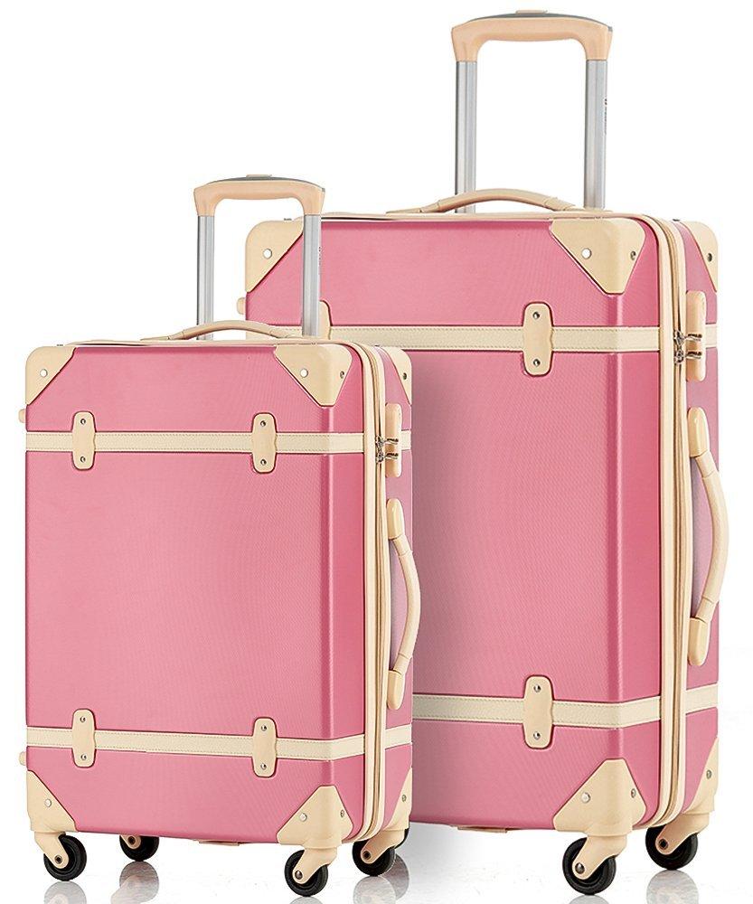 Merax Travelhouse 2 Piece ABS Luggage Set Vintage Suitcase (Carmine and Ivory) by Merax
