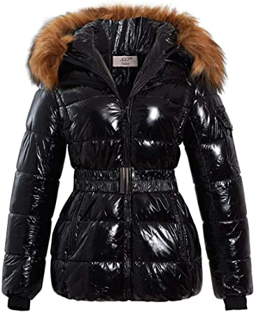 Black Wet Look Puffer Coat Soph | Puffer coat, Puffer