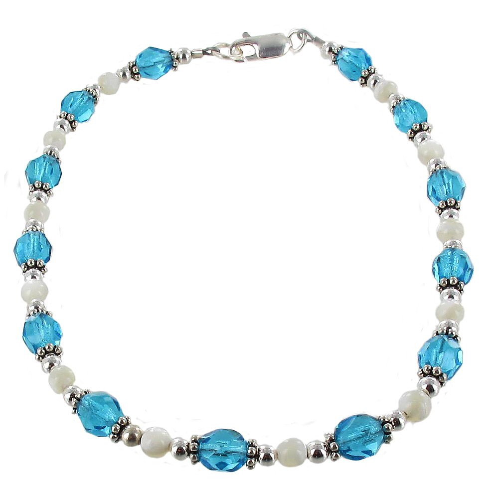 Timeless-Treasures Womens Aqua Czech Fire Polished Glass, Mother of Pearl & Sterling Silver Beaded Anklet with Daisies - 12''