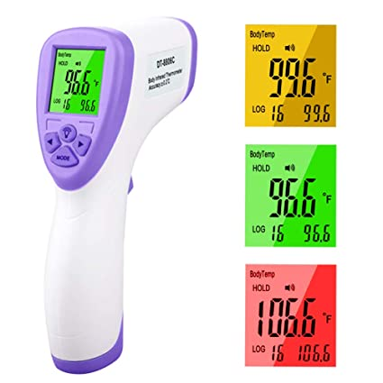 Infrared Thermometer for Adults Forehead ,Temperature Gunwith LCD Screen for Adults and Baby Non Contact,Accurate Instant Reading with Alarm and Memory Function