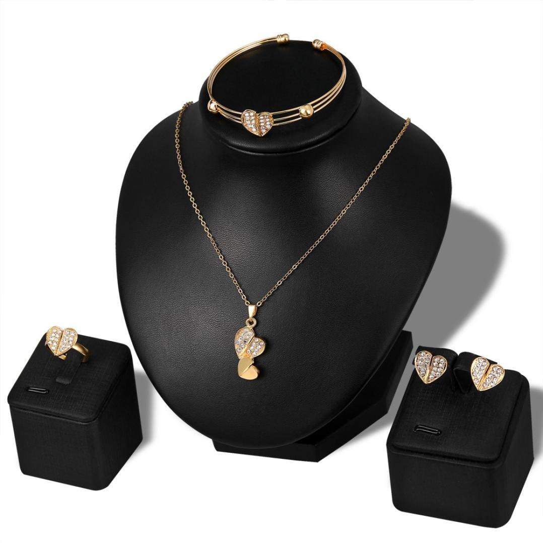 Botrong Lady Women Personality Rhinestone Necklace Bracelet Ring Earrings Jewelry Set H