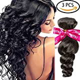 Cheap Armmu 9A Grade Loose Wave 100% human hair Extensions Brazilian Hair 3 Bundles Unprocessed Virgin Hair Remy Hair Weft Natural Black Color 141618