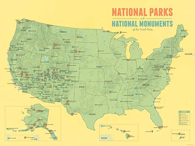 Amazon.com: Best Maps Ever US National Parks & Monuments Map 18x24 ...