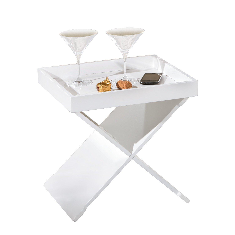 Links 99800570 Beistelltisch Wohnzimmertisch Nachttisch Tablett Tisch Tabletttisch Weiss NEU Amazonde Kche Haushalt