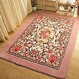 Cheap Luk Oil European Pink Flowers Carpet Large Living Room Carpet Garden Roses Bedroom Rugs Baby Crawling Mat (200cmX150cm)