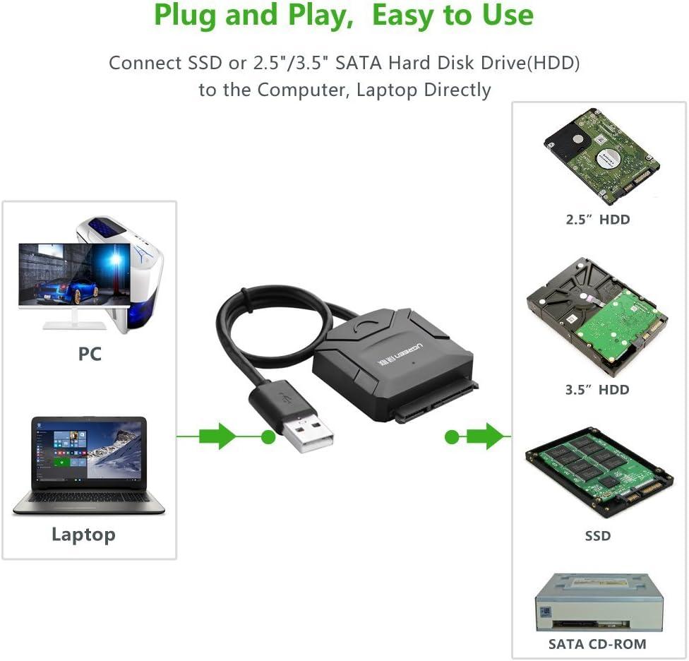 Ugreen USB 3.0 A SATA Adaptador convertidor de Cable para 2,5