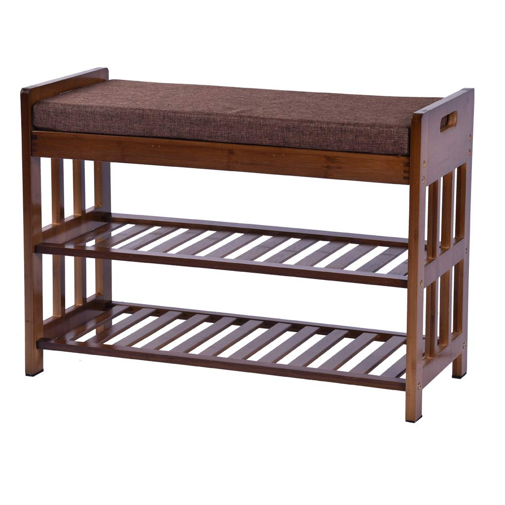 WONdere Natural Bamboo Shoe Rack Entryway Shoe Storage Household Shelf Shoe Bench with Cushion, Size 28.1'' x 11.8'' x 19.7'' (Amber)