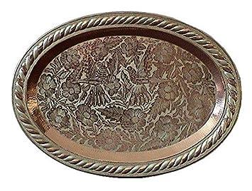 Fine Crafts & Imports Bandeja de cobre decorada con plata ovalada cobre