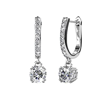370ad2298005 Amazon.com  Cate   Chloe McKenzie 18k White Gold plated brass with Swarovski  Solitaire Crystals Dangle Channel Set Drop Horseshoe Earrings  Jewelry