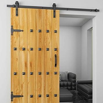 Rodillo para colgador de puerta, color negro, de madera, corredera, raíl deslizante de acero, raíl antiguo (tipo A ...