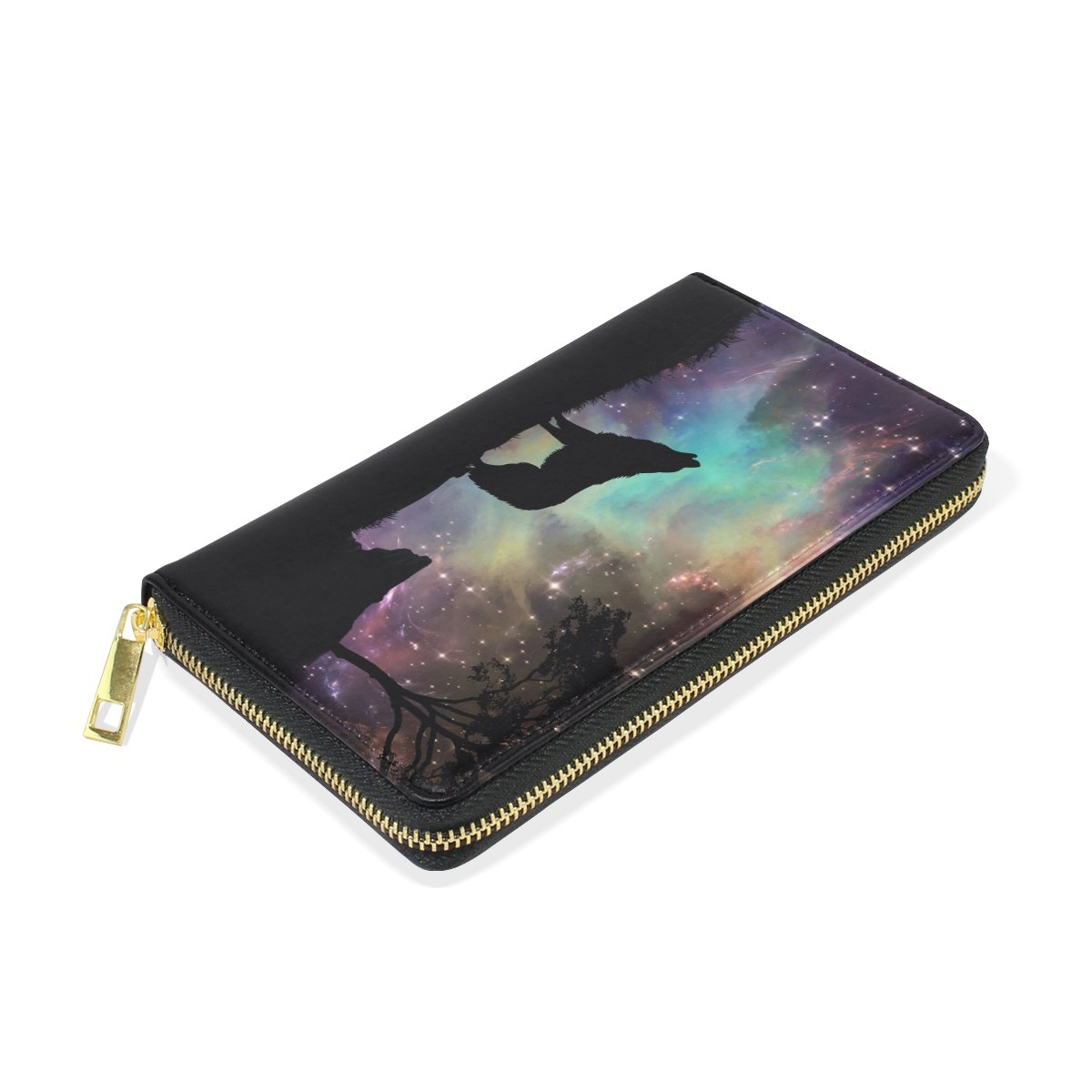 Galaxy Wolf Genuine Leather Girl Zipper Wallets Clutch Coin Phone for Women by FeiHuang (Image #4)