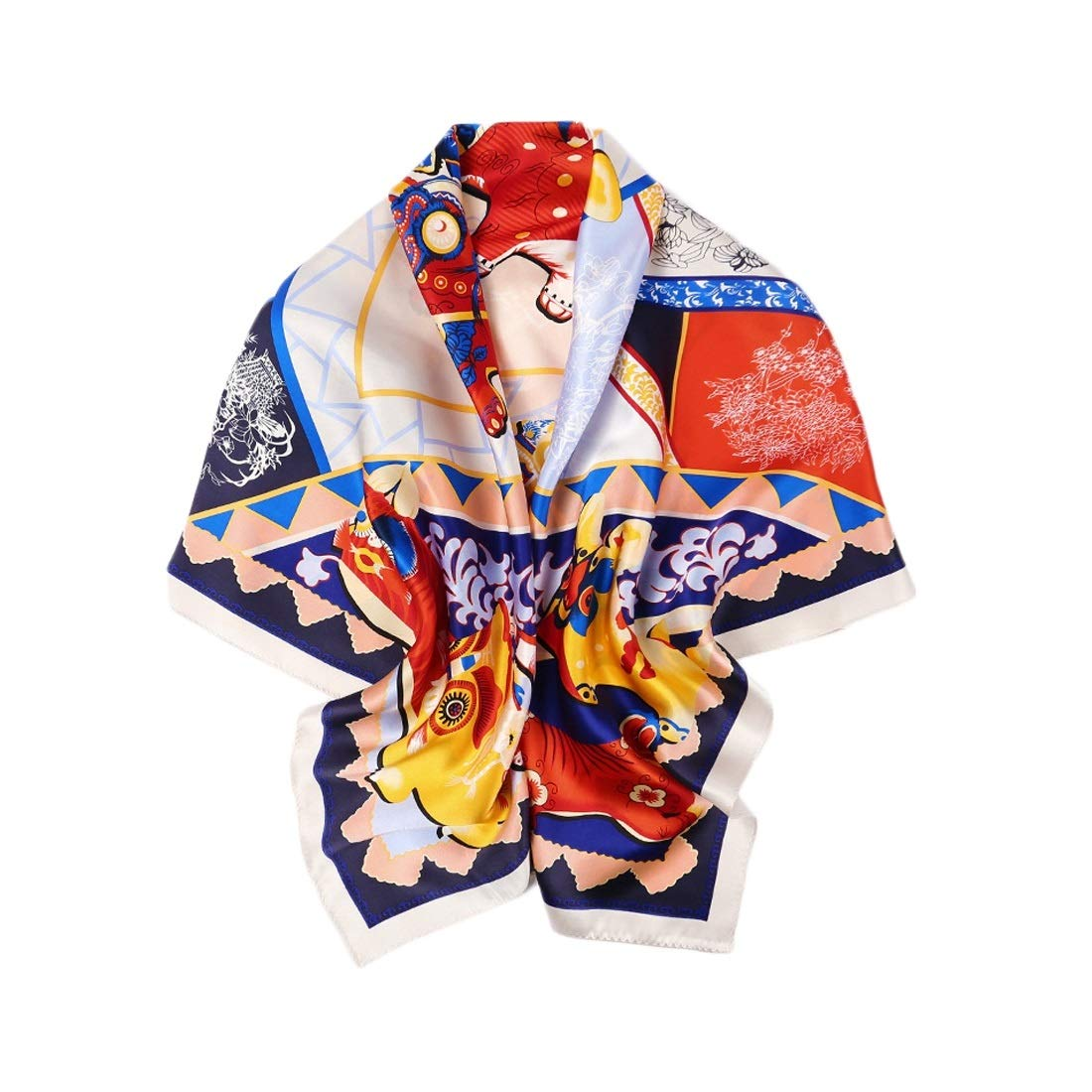1 CEFULTY Women Silk Square Scarf Satin Silky Soft Scarf Office Air Conditioner Shawl Beach Towel (color   4, Size   105x105CM)