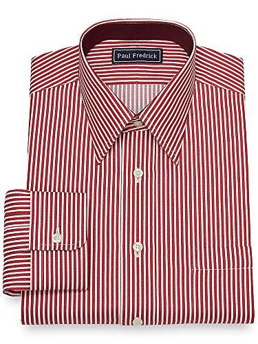 Paul Fredrick Men's Slim Fit Bengal Stripe Dress Shirt Red 15.5/33 (Paul Fredrick Bengal Stripe Dress Shirt)