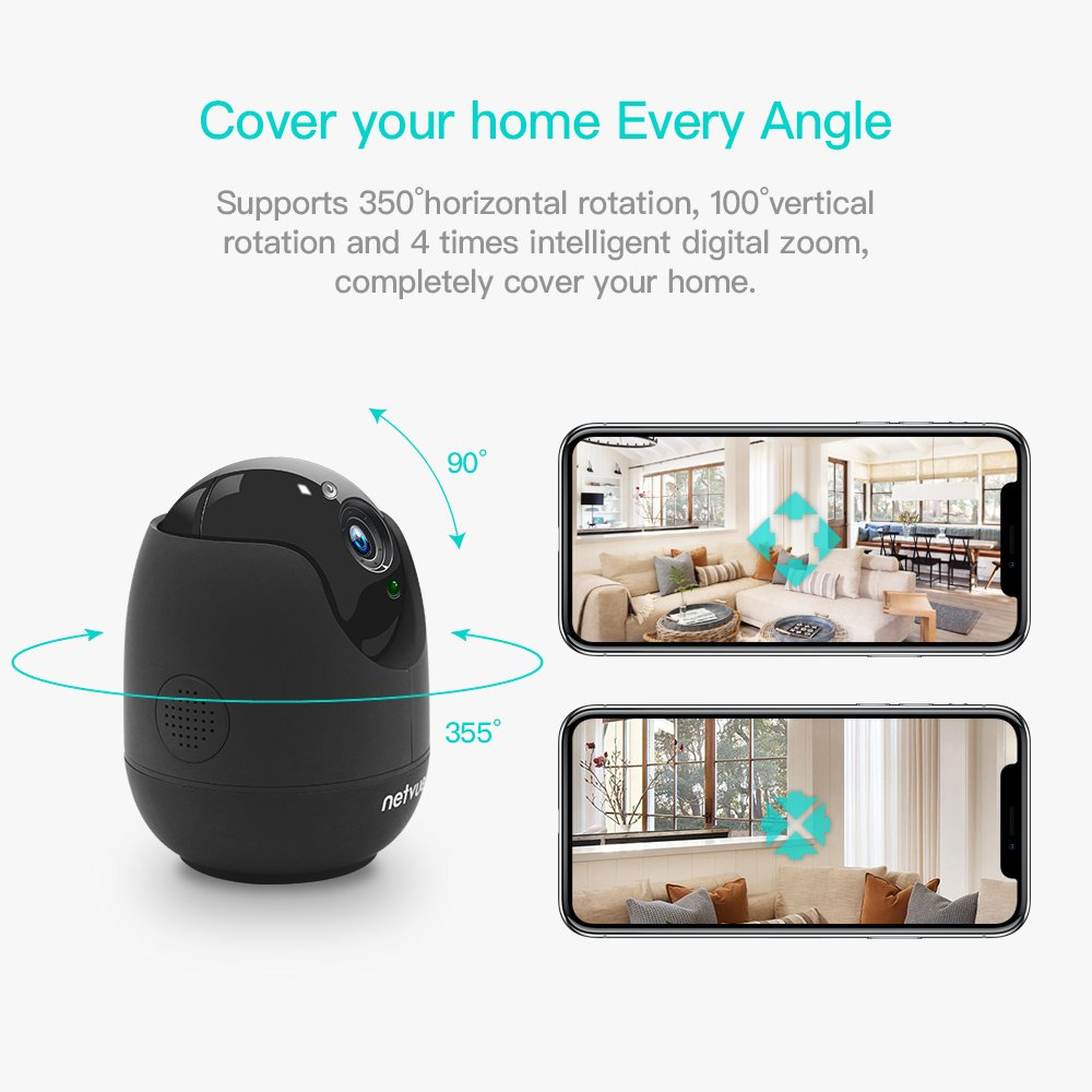 Netvue 1080P Home Security wifi Camera, Compatible with Alexa Echo Show,2 Way Audio and Night Vision,Wireless IP Camera with Motion Detection P/T/Z,TF Card Record, Baby Monitor (Black)