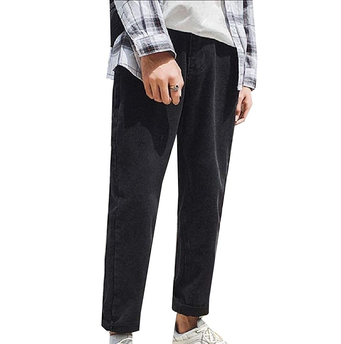 Young2 Mens Casual Trousers Wide Leg Straight Leg Slim Jeans Pants