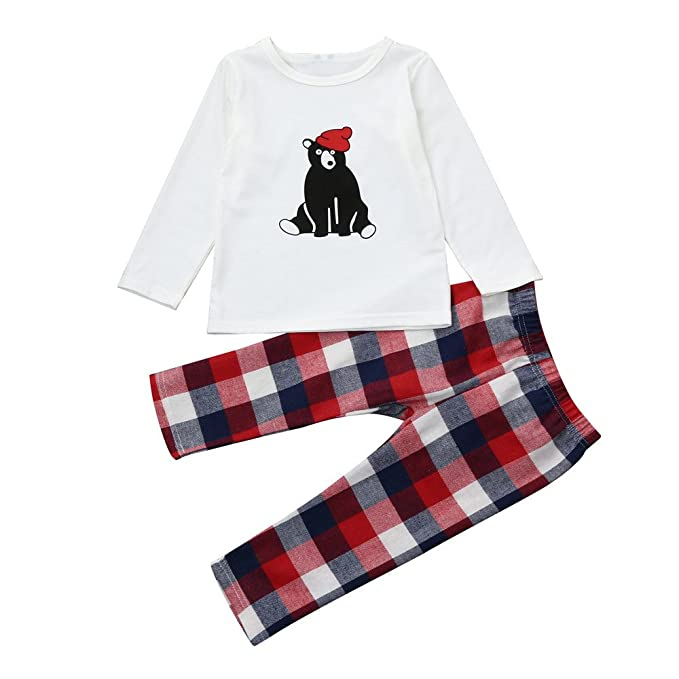 Conjunto de ropa familiar zycShang Kid Baby Boy Girl Camiseta de Oversize Tops Plaid Pants Xmas