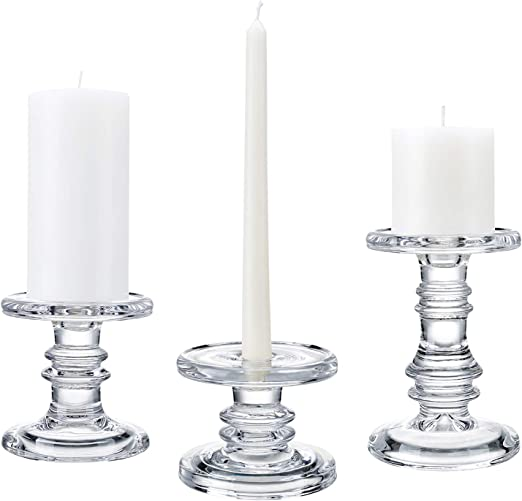 Wooden Tealight Candle Holder with Glass Candle Cup Pillar Candle Stand
