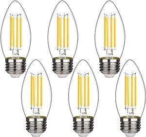 BORT B11 Chandelier led Light Bulbs, Dimmable 4W Equivalent to 40W LED Candelabra Bulbs, 2700K Warm White, E26 Standard Base LED Bulbs, Torpedo Top (B11-6 Pack)