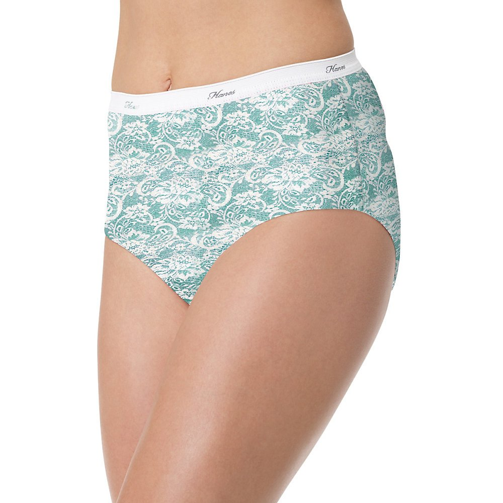Hanes Women's 6 Pack Lace Effect Cotton Brief, Assorted, 7