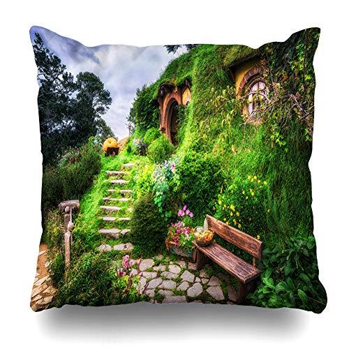 Ahawoso Throw Pillow Cover Square 18x18 Inches Viewpoint Matamata Bilbo Baggins Hobbit Garden Hobbiton Parks View Bench Famous Scenic End Cushion Case Home Decor Pillowcase