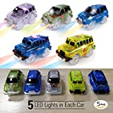 Glowing Magic Track Cars w/5 LED Lights, 5 Pack, Race Car Toy, Independent & Track Play, Compatible Most Tracks Including Magic Tracks, Neo Twister Tracks, Boys|Girls