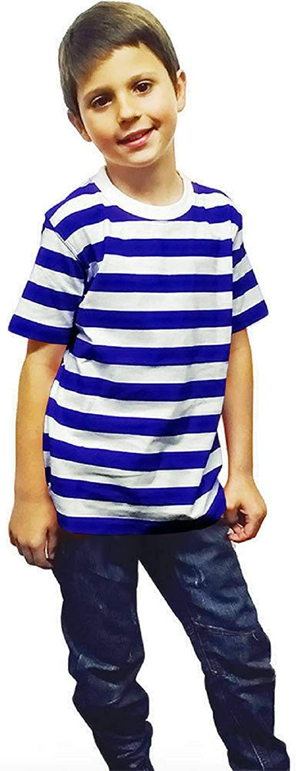 New Children/'s Kids Unisex Black White Striped T-Shirt Casual Summer Top Age 3-13 Years