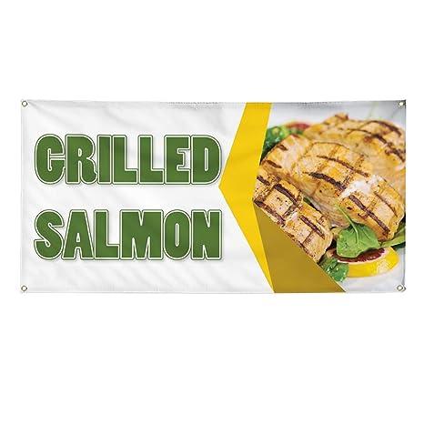 Amazon Com Vinyl Banner Sign Grilled Salmon Restaurant