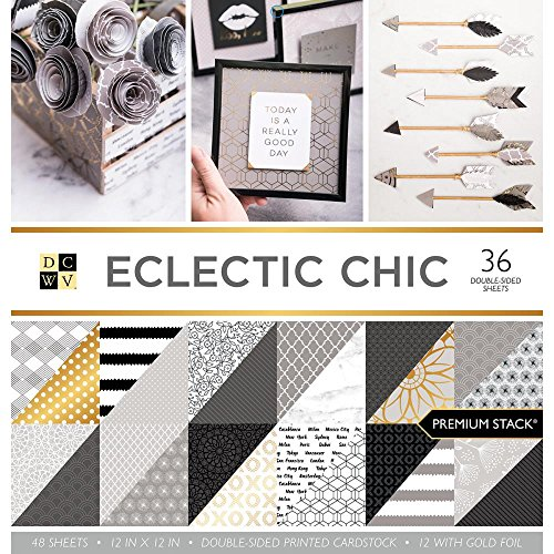Print White Colored Paper (American Crafts PS-005-00529 Card Stock 12X12 Stack Eclectic Chic, 36 Sheets)