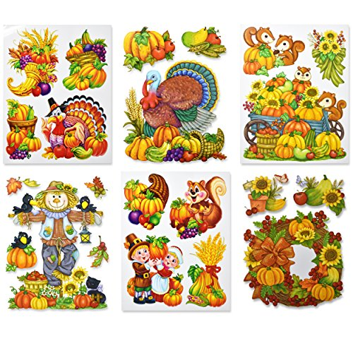 Gift Boutique Thanksgiving Window Cling Decorations, Pack of 6 Fall Autumn Harvest Party Decor