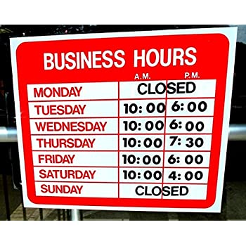 Amazoncom Business Hours Sign Store Window Vinyl Decal Sticker - Window stickers for business hours
