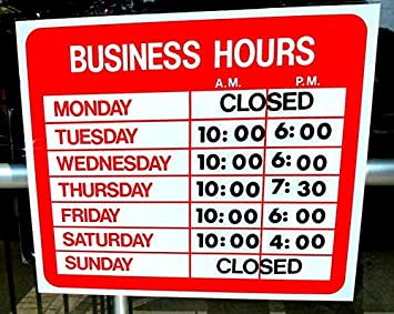 Amazoncom  Business Hours Sign Store Window Vinyl Decal Sticker - Window decals for business hours