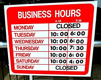 9f13a523fa0 Amazon.com   Business Hours Sign Store Window Vinyl Decal Sticker ...