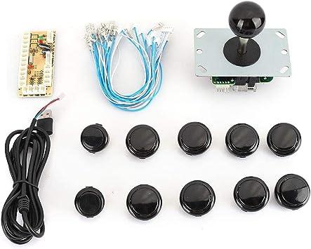 Arcade Game DIY Kit Joystick 10 x Push Button USB Encoder Board Black Color