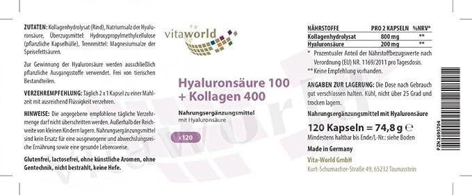 Ácido Hialurónico 100mg + Colágeno 400mg 120 Cápsulas Vegetales - Vita World: Amazon.es: Salud y cuidado personal