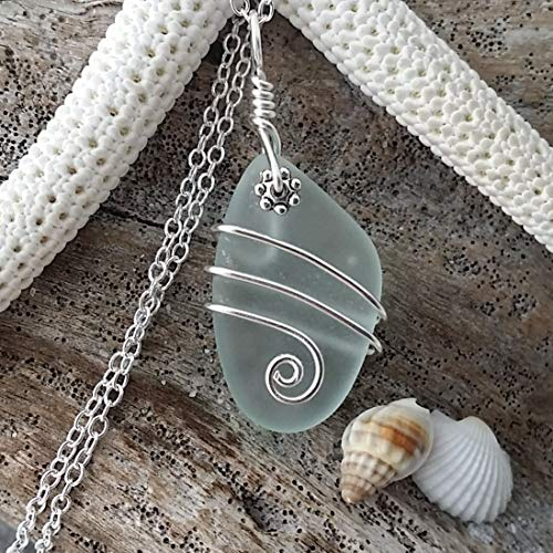 Handmade jewelry in Hawaii, wire wrapped seafoam sea glass necklace, sterling silver chain, Hawaiian Gift, FREE gift wrap, FREE gift message, FREE shipping