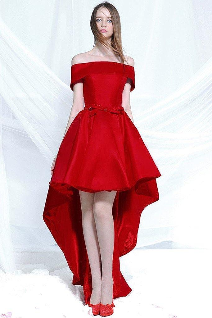 Aurora Bridal Bridal Dress Off Shoulder Hi-Lo Satin Evening Dress