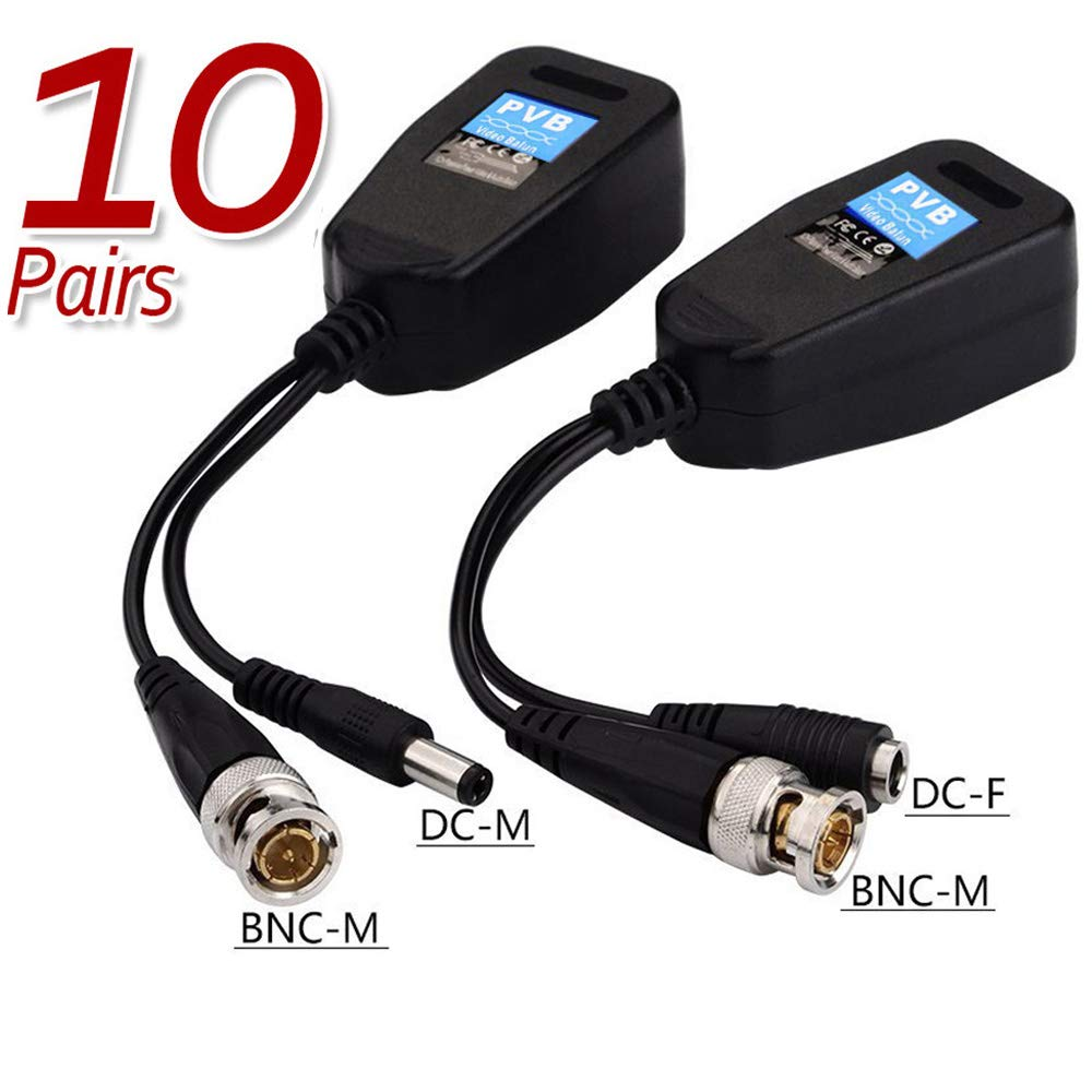 Video Balun HD-CVI//TVI//AHD Passive Video Balun with Power Connector and RJ45 CAT5 Data Transmitter BNC Twisted 10 Pairs TJMD