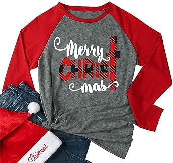 HRIUYI Women Plus Size Merry Christmas T-Shirt Funny Plaid Tree Graphic Baseball Tee Holiday Raglan Long Sleeve Casual Tees