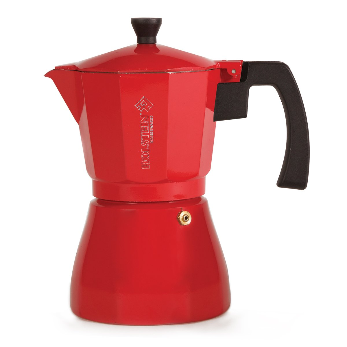Holstein Housewares H-08081 6-Cup Aluminum Espresso Maker - Red
