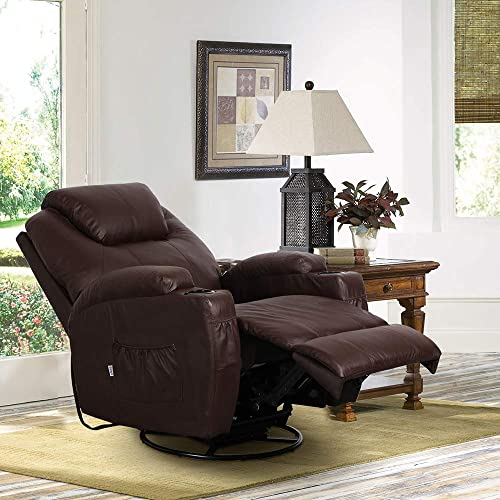 Aoxun Massage Recliner Chair Heated PU Leather Ergonomic Lounge Control 360 Degree Swivel Brown