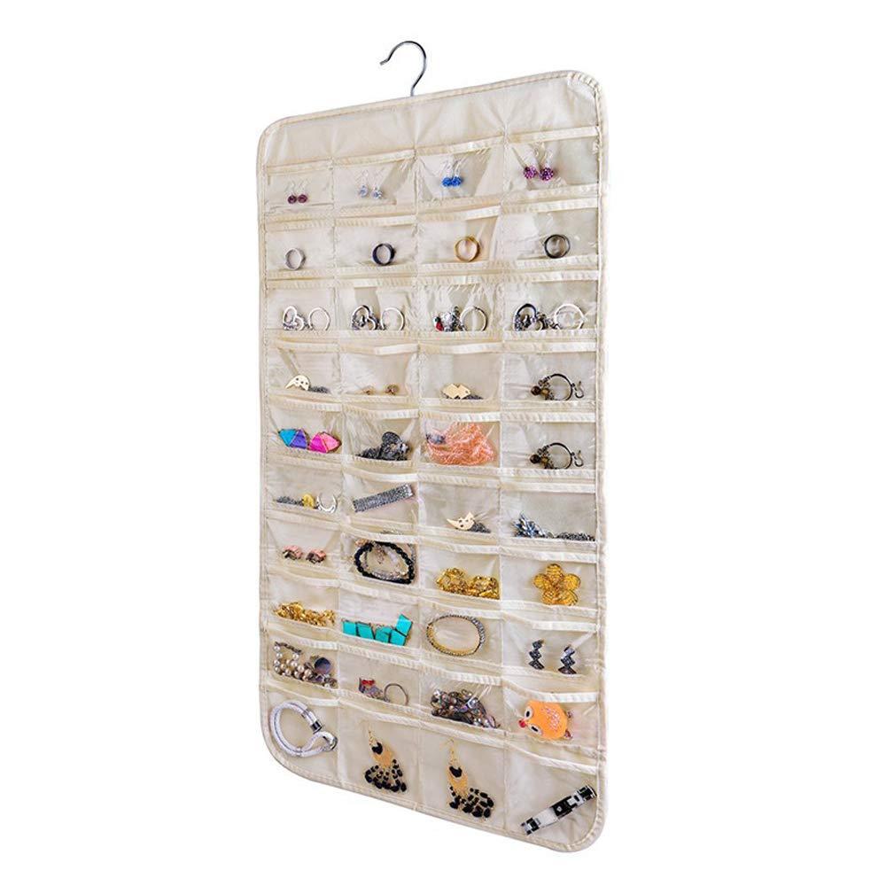 faltbar zweiseitig mit 360 Grad drehbarem Haken beige Toilettenartikel Ohrringe und Ringe f/ür Make-up Schmuck-Organizer mit 80 Taschen Halskette