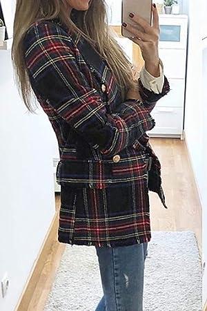 Abrigo De Lana para Mujer, Abrigo De Invierno, Casual, con Botones De Cuello, Ropa De Abrigo A Cuadros