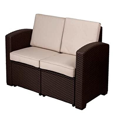 Patio Furniture Loveseat With Cushions, Patio Contemporary Loveseat With  Cushions Indoor And Outdoor Rattan Sofa