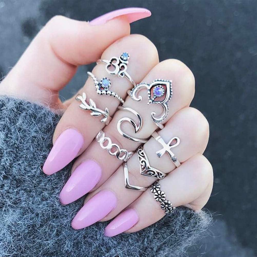 RENNICOCO 10 Piezas Vintage Cristal de Diamante por Encima de nudillo apilar Conjunto Anillo de Banda