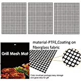 Ueasy 3 Pack Teflon Non Stick BBQ Grid Mat 15.75x13inch BBQ Grill Mesh Grilling Net Grid Mat Pad for Oven Microwave Charcoal Barbecue Tools (Black)