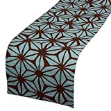5 ft console table - Table Runner - Cotton Dresser Scarf, Rectangular Table Runner with Floral Print, Great as Coffee Table Runner, Dining Table Runner, or Kitchen Table Runner, Brown and Teal Blue, 70 x 13.25 Inches